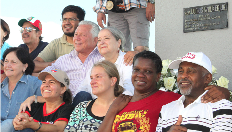 Friendshipment Caravan to Cuba 2014: Sitting in Revolutionary Square in Havana, Cuba