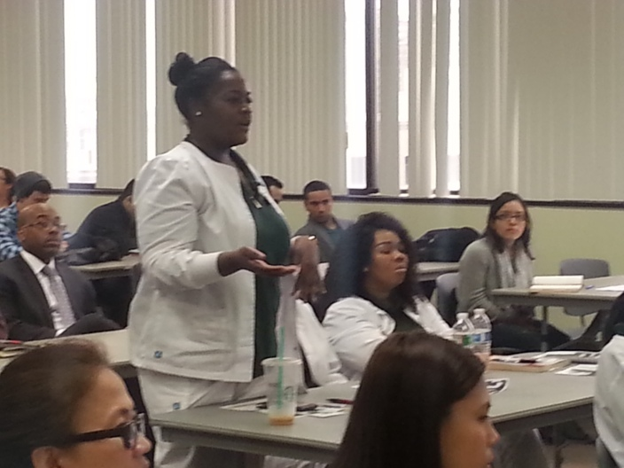 Nursing students meeting with the ICAp delegation at Essex County Community College
