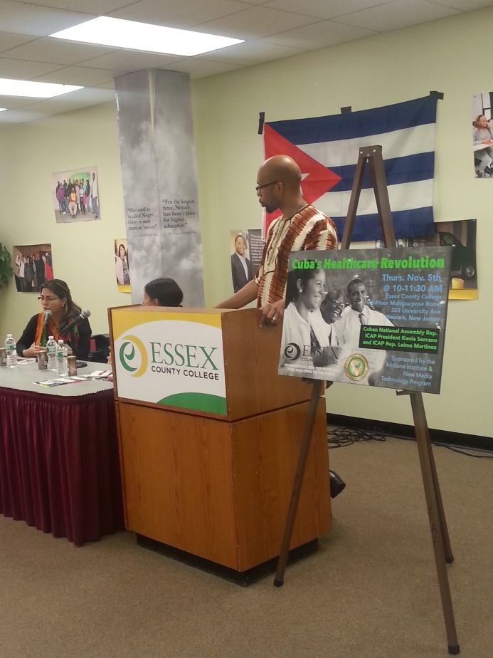 Dr. Akil Kokayi Khalfani Director of Africana Institute greeting the ICAP delegation from Cuba
