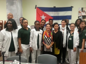 Essex County Community College nursing students with Kenia Serrano and Leima Martinez from ICAP.